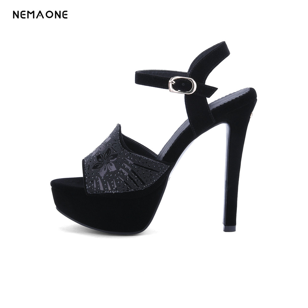 NEMAONE New Fashion Ankle Strap open Toe Women Shoes Thin Heels platform Shoes sandals<br>