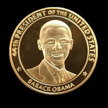 100 pcs/lot The president of United state Barack Obama America real silver gold plated souvenir coin