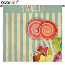 Window Curtains Treatments 2 Panels,Vintage Retro Old Candy Store Chocolates Lollipops with White Stripes on Baby Blue Backdrop(China)