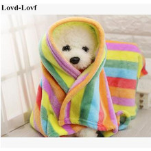Lovd-Lovf Cute Colorful Pet dogs cats Rainbow Fleece bed blanket Cute Super Warm Puppy dog Cat Mat Bed Sofa Pet supplies soft(China)
