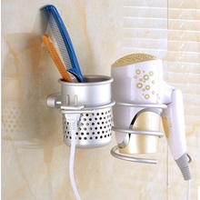 Multi-function Space Aluminum Bathroom Wall Shelf Wall-mounted Hair Dryer Rack Storage Organizer Hairdryer Spiral Support Holder
