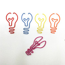 12pcs/lot  bulb Shape Paper Clips Creative Interesting Bookmark Clip Memo Clip Shaped Paper Clips for Office School Home P062