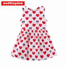Mudkingdom 100% Cotton Baby Girls Dress Sleeveless Red Heart Summer Dresses For Kids Children Girls Clothes Party Dress 2017 NEW