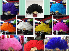 High Quality Big Dance Ostrich Feather Fan for Belly Dance Halloween Party Ornament Necessary 12 Bones Fan stage performance diy