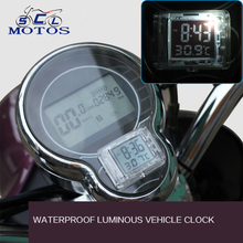 Sclmotos- Waterproof Tachometer Clocks with Temperature Motorbike Watch with Light Motocross ATV Off-road Case For Kawasaki KTM