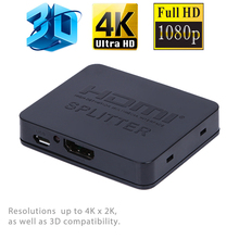 Ultra HD 4K HDMI Splitter Full HD 3D 1080p Video HDMI Switch Switcher 1X2 Split 1 in 2 Out Amplifier Dual Display