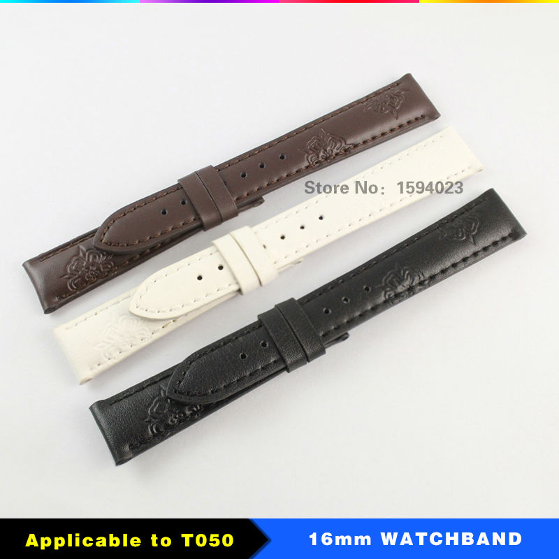 16 mm (Buckle14mm)  T050 PRC200 Woman Genuine Leather White Black Wrist Lady Bracelet at 1853 T050 T055 T063 16mm + Free Tools<br>