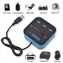 All In One USB COMBO 3 Port Usb Hub 2.0 HUB Multi USB Card Reader for SD/MMC/M2/MS/MP Pro Duo Black Blue green Wholesales