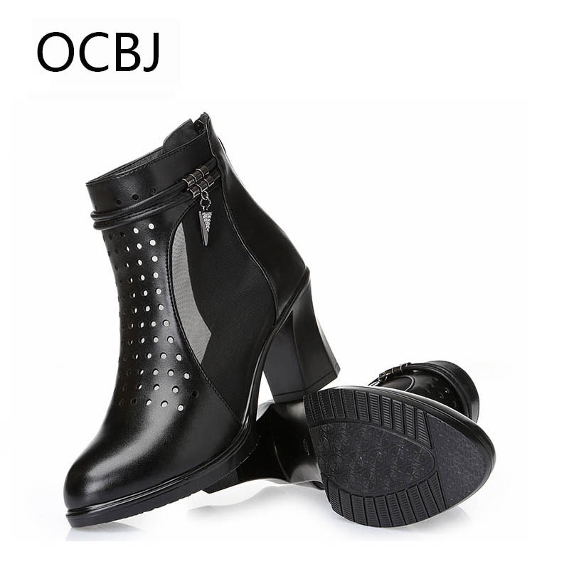 OCBJ 40 Big Size Genuine Leather Mesh Breathable Woman Sandals 2017 New Female Thick High Heel Hollow Mesh Shoe  Black Grey<br>