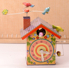 Retro Bird Home Tinplate Clockwork Toy Vintage Tin Wind Up Toys For Children Classic Handmade Crafts
