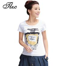 TLZC 2017 Summer Lady Casual T-Shirts Big Size M-3XL Perfume Printing O-Neck Style Women Cotton Tees White Color Clothing