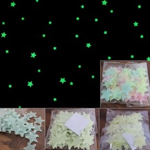 100Pcs/Set Kids Bedroom Beautiful Fluorescent Glow In The Dark Stars Wall Stickers Baby Rooms Sticker Home Decoration(China)