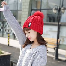 Cute Women Girls Soft Wool Knit Cap Pompom Beanie Crochet Large Ball Bobble Ski Autumn Winter Warm Adjistable Hat 2016 New