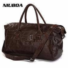 NIUBOA Vintage Genuine Leather Travel Bag Men Soft Real Leather Duffel Bags Luggage Travel Men Big Business Duffle Weekend Tote(China)