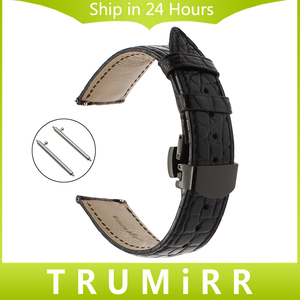 22mm Genuine Alligator Leather Watchband for Pebble Time Samsung Gear 2 Neo Live Moto 360 2 46mm Quick Release Band Watch Strap<br>