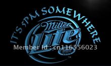 LA407- Miller Lite It's 5 pm Somewhere   LED Neon Light Sign     home decor shop crafts