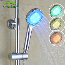 Chrome Polished Bathroom Shower Faucet Accessories LED Hand Shower Handheld Sprayer