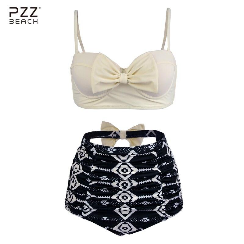 White Bikini Set High Waist Swimsuit Plus Size Swimwear Monokini Bow Print Bathing Suit Maillot De Bain Sexy Brazilian Bikini<br>