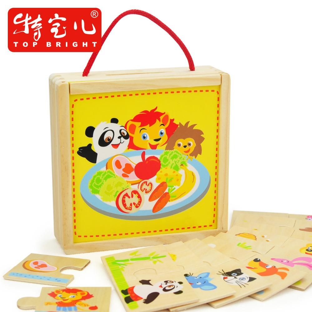 Candice guo Wooden toy baby birthday christmas gift animal lion rabbit bear panda find food cartoon match game puzzle box 1set<br><br>Aliexpress