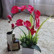 Artificial orchid,  imitation  flowers with vase  set ,Silk Orchid , Arrangement , dining table Decor ,product code 0426