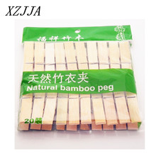 Best Quality 20pcs/pack Mini Bamboo Wooden Clothes Photo Paper Peg Clothespin Laundry Hangers Craft Clips 60*12*13.5MM(China)