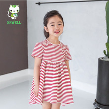 NNW 2017 summer girls Navy Striped short sleeved cotton dress small and medium children dress cute princess girls clothes(China)