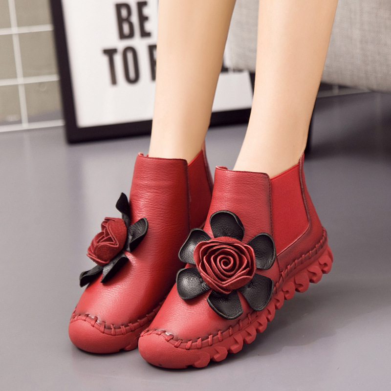 2018 Winter Boots Girls Flowers New Leather Boots Plus Velvet Warm Round Toe Round Female Boots Genuine Leather A517<br>