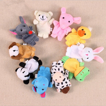 5Pcs/lot Cute animals Dog rabbit panda duck mouse Finger Puppets 0-2 years baby Story characters dolls Colorful toys to appease(China)