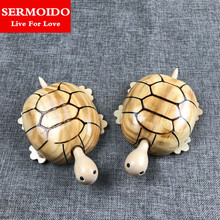 SERMOIDO Marine Life Sea Animal Tortoise Figures Model Toys Woody Mini Turtles Decoration Toy Great Gift For Children A155