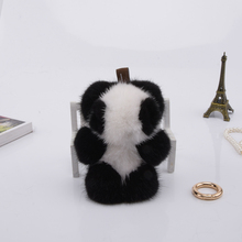Genuine mini 8cm mink Fur Keychain fashion Soft Fur panda Key ring bag Pendant gift pendant car accessories key rings plush toy