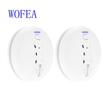 WOFEA 2 pcs Wireless Smoke Fire Detector Sensor For GSM PSTN Security smoke Alarm System(China)