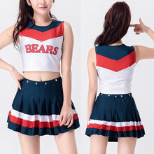 2017 sexy cheerleaders Costume Varsity girls Cheerleadering dance Uniform Costume Outfit striped letter printing Tops+Skirt(China)