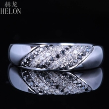 HELON Pave Genuine Natural Diamonds & Black Diamonds Wedding Band Solid 10KT White Gold Engagement Anniversary Fine Jewelry Ring(China)