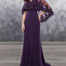 c6559ab0931 evening gown bolero sheer vestido novia Applique shining sequins 2018  arrival chiffon Dark Purple Mother of