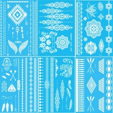 8Pcs/lot New Brand Design India White Henna Ink Lace sticker Temporary Tattoo Inspired Flash Creative Bride Tattoos Body Art