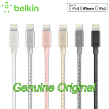 2.4A Original Belkin MFi Certified 8 pin Lightning to USB Metallic Braided Cable Charge Sync for iPhone 7 Plus for iPad F8J144bt(China)