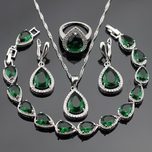 Silver Color Jewelry Sets For Women Green Stones White CZ Bracelet Earrings Necklace Pendant Rings Christmas Gift