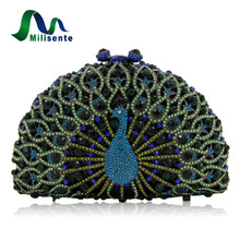 Milisente Peacock Shape Evening Bag Women Animal Luxury Crystal Party Clutches Lady Wedding Clutch Green Gold Silver