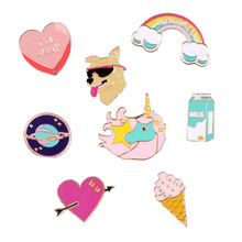 Free Shipping Cartoon Cute Scooter Dog Heart Unicorn Rainbow Rocket Metal Brooch Pins Badge Jewelry For Women Gift Wholesale