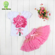 Summer Baby Kids Girls Clothes Sets Mini Skirts Princess Pageant Flower Bow Tulle Baby Party Tutu New Pink 2 3 4 5 6 Years(China)