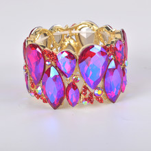 Fashion New shiny marquise Crystal Cuff Bracelets Bangles Big Stretch Bangle  for Women wedding Bridal Bracelet Jewelry Gift 1338b89985cb