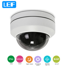 LEF 1080P Mini PTZ Dome Camera 3X Zoom Motorized Security CCTV Network PTZ IP Camera Indoor/Outdoor 20M IR Distance ONVIF(China)