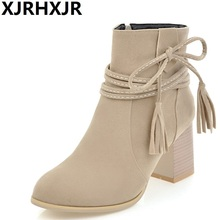 XJRHXJR British Style Suede Leather Ankle Boots Women Shoes Autumn Winter Side Zipper Martin Boots Female Square Heel Shoet Boot