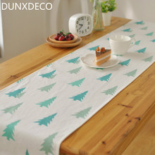 DUNXDECO Fresh Green Plants Pine Tree Print Linen Cotton Table Runner Party Tablecloth Kitchen Cover Decoration Photo Prop