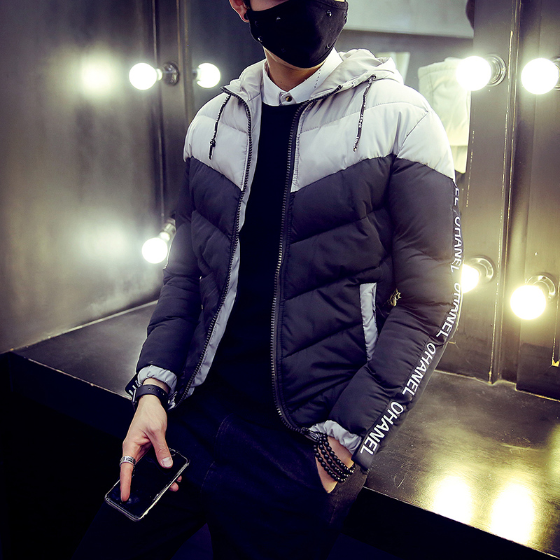 Mens cotton padded clothes 2017 winter new fashion hooded spell color student casual cotton jacket youth simple thermal codeОдежда и ак�е��уары<br><br><br>Aliexpress