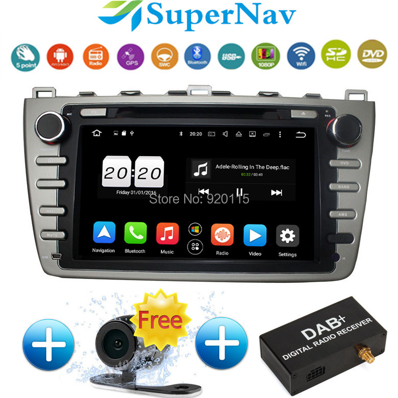 1024*600 Car DVD Player Android 6.0.1 Fit Mazda 6 Ruiyi Ultra 2008-2012 with Wifi Bluetooth Radio DVD GPS Navigation Free camera(China (Mainland))
