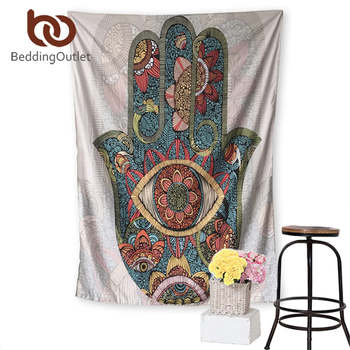 BeddingOutlet Hamsa Hand Tapestry Indian Mandala Floral Wall Hanging Tapestry for Home Psychedelic Bedspread 2 Sizes