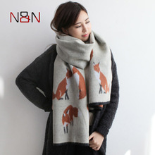 Winter Women Cashmere Scarf Designer Fox Printed Thicken Warm Cape Long Shawl Brand Shawls and Scarves Warm Pashmina Echarpes(China)