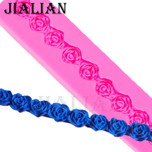 Long strip lace roses Flowers chocolate wedding DIY fondant baking cake decorating tools silicone mold T0032