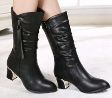 Black New Arrival Hot Sale Specials Super Fashion Cheap Knight Round Toe Female Leather Black Cotton Noble Heels Boots EU34-40